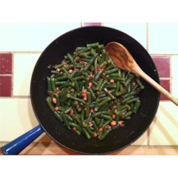Yummiest Green Beans Ever Recipe - This dish was created out of boredom with plain, average green beans! It's sweet, tangy and savory...and my kids absolutely love it! Hope you enjoy it as much as we do! I use leftover sliced deli ham since it is already sliced thin and makes perfect tiny pieces, but leftover dinner ham would be delicious also!