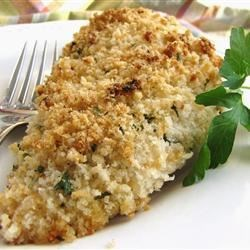 Heather's Best Ever Baked Chicken Recipe - After ranch dressing serves as marinade, chicken is dipped in herbed parmesan bread coating and baked for a top-notch effort.