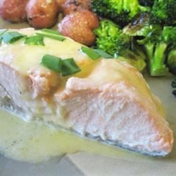 Poached Salmon with Hollandaise Sauce Recipe - Here's my recipe for poached salmon bathed in a classic hollandaise sauce. I serve this dish with boiled, cubed sweet potatoes and broccoli.