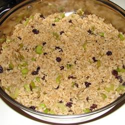 Raisin and Spice Brown Rice Recipe - This brown rice pilaf is seasoned with onion, celery, raisins, fresh ginger, cumin, coriander, black pepper, and soy sauce.