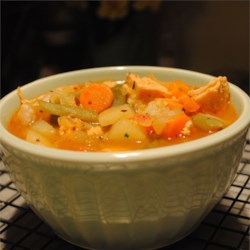 Lower Fat Chicken Vegetable Soup Recipe - A two-step recipe -- put everything in a pot, simmer for an hour, add some cooked chicken, cook for 15 minutes more.  Simple and full of vegetables, this soup is good and good for you.