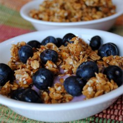 European Muesli Recipe - The crunchy goodness of nuts, grains and seeds is baked together with honey. Try this as a quick snack, as a cereal, or stirred together with your favorite flavor of yogurt.
