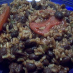 Rice with Black Beans Recipe - Good rice, beans, and tomato dish that takes about 20 minutes to prepare.