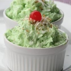 Watergate Salad Recipe - Pistachio pudding mix is the base for this marshmallow salad with pineapple, nuts and fluffy whipped topping.
