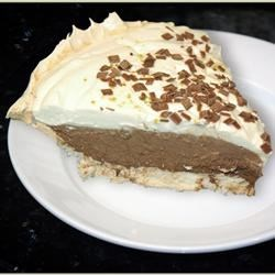 German Chocolate Angel Pie II Recipe - A fantastic and sinful pie! German chocolate mousse mounded in a pecan meringue shell. If you like sinning, you'll love this pie!