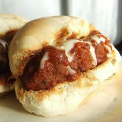 Hearty Meatball Sandwich Recipe - A cross between meatloaf and meatballs, this sandwich holds together without being messy.