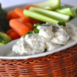 No-Guilt Zesty Ranch Dip Recipe - This flavorful dip is great for homemade jo-jo potatoes, raw vegetables, chips, and even baked potatoes!