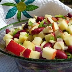 Best Apple Salad Recipe - A wonderful unexpected blend of fresh apples, onions, peppers, and beans, with a great dressing to toss in some zing!
