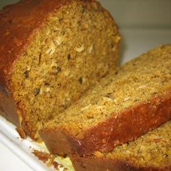 Pumpkin Coconut Bread Recipe - Flaked coconut adds chewy sweetness to spicy pumpkin-nut bread.