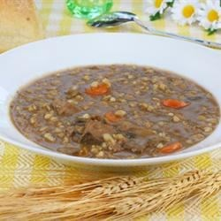 Leftover roast beef and barley soup