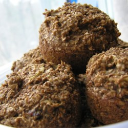 Deep Dark Old Recipe Bran Muffins Recipe - Chopped raisins sweeten these dark, bran-packed muffins.