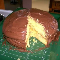 Boston Cream Cake Recipe - This recipe uses cake mix, pudding mix, and prepared chocolate icing to make an easy and delicious version of Boston Cream Pie.