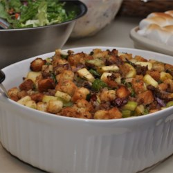 Cranberry, Sausage and Apple Stuffing Recipe and Video - A mellow stuffing that pairs up perfectly with the Maple Roast Turkey and Gravy.