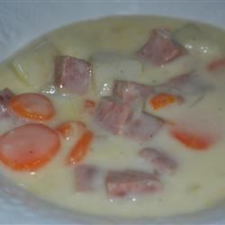 Chunky Cheese Soup Recipe - A Cheddar cheese soup filled with chunks of vegetables and ham.
