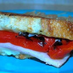 Grilled Roasted Red Pepper and Ham Sandwich Photos ...