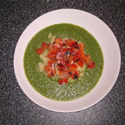 Puree of Green Things Soup with Quinoa and Pepper Relish Recipe - Broccoli is the main flavor of this soup, complemented by a topping of quinoa and pan-grilled red pepper with lime juice. This can easily be made vegetarian by using vegetable broth instead of chicken broth.