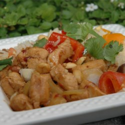 Go Girl Hot Szechwan Chicken Recipe - Sauteed chicken breast simmered with fragrant, spicy ingredients like garlic, ginger, chile paste and a citrus mixture.
