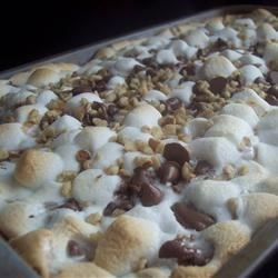 Rocky Road Bars Recipe - These bars have everything:  marshmallows, chocolate, and nuts.
