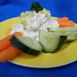 Daffodil Vegetable Dip Recipe - This dip is different, delicious, light, and great served with raw veggies or crackers! Trust me on the anchovy paste.