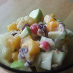 Fabulous Fruit Salad Recipe - How could this recipe miss with ripe nectarines, apples, walnuts, and dried cranberries, all stirred in a bowl with lemon yogurt. Chill and enjoy.