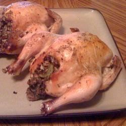 Baked Cornish Game Hens Recipe - Cornish game hens stuffed with a vegetable mixture, then roasted. A Cornish game hen recipe that I found and tweaked a bit for the taste and size of our small family, but it would be very easy to adjust it to fit your needs.  It goes well with oven-roasted potatoes.