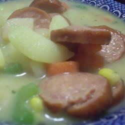 Creamy Kielbasa and Potato Soup Recipe - Potatoes are cooked with beef and chicken broth, then combined with kielbasa and condensed soup to make this dish live up to its name.