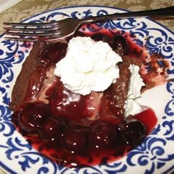 Classic Cherries Jubilee Over Icecream Cake