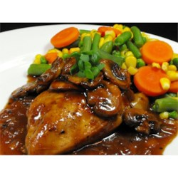 One Dish Bourbon Chicken Recipe -  A shot of bourbon nicely offsets the bite of garlic and onion in this easy chicken entree.
