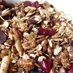 Dee's Dark Chocolate Granola Recipe - This crunchy  peanut butter and chocolate granola is great for breakfast, or any time that a chocolate craving hits.