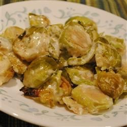 Creamy Parmesan Brussels Sprouts Recipe - Brussels sprouts baked with heavy cream and Parmesan cheese -- it couldn't be a simpler recipe, or a more delicious one.