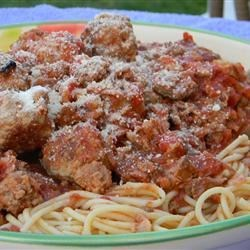 Family Sicilian Sauce and Meatballs Recipe - My Mother's family originally came from Sicily and every family member makes his or her own version - this version came most recently via Brooklyn.  Use your favorite meat and Italian red wine for this sauce and serve with your favorite pasta. This also is a great pizza sauce if you leave out about half of the meat.  If there are any leftovers, they freeze very well. MANGIA!