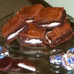 Peppermint Patty Brownies Recipe - Brownies with York Peppermint Patties in them.