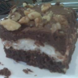 Mississippi Mud Cake IV Recipe - A chocolate cake with the down home flavors of nuts and marshmallows. Here's some 'mud' you'll WANT tracked into your kitchen!