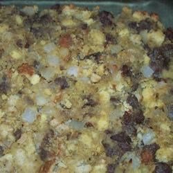 Cornbread and Sausage Stuffing Recipe - Use a pre-baked pan of corn bread in this stuffing for turkey, chicken or pork loin chops. You can freeze what you don't use for future meals.