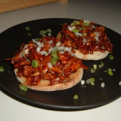 Asian Turkey Barbecue on Sesame Scallion Toasts
