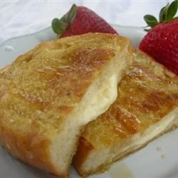 Stuffed French Toast I Recipe - An elegant version of French toast with a luscious egg coating and cream cheese filling.