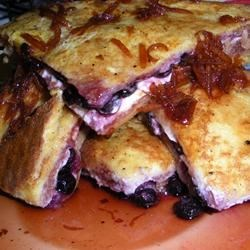 Easy Blueberries And Cream French Toast Sandwich with Orange Maple Syrup