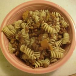 Pasta with Lentil Soup Sauce Recipe - Pasta is cooked with lentils for an exciting variation!