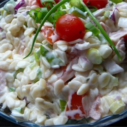 Orzo Ham Salad Recipe - Cubed ham, orzo pasta, green bell pepper, and cherry tomatoes are tossed with a creamy dressing. Make over your leftover ham with this delicious pasta salad.