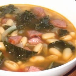 Cannellini Bean with Flat Leaf Kale Recipe - All ingredients come from the freezer or the refrigerator and are assembled at time of use. Freshly cooked beans are better than the canned variety so have some on hand always, all beans work well for this wonderful soup! Ladle into your nicest soup plate, find a warm cozy place to sit and sip your soup.
