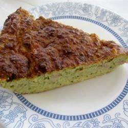 Zucchini Crustless Quiche   Recipe - This quick, easy quiche is made with fresh zucchini, and is mixed entirely in a food processor.
