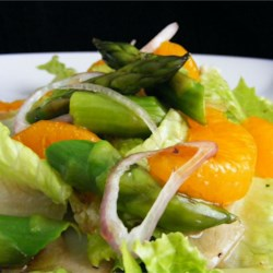 Asparagus, Orange and Endive Salad Recipe - Raspberry vinegar is the key to this fruity tasting salad.  Preparation time is 15 Minutes.  This recipe is from The WEBB Cooks, articles and recipes by Robyn Webb, courtesy of the American Diabetes Association.