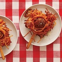Spaghetti and Meatballs On a Stick