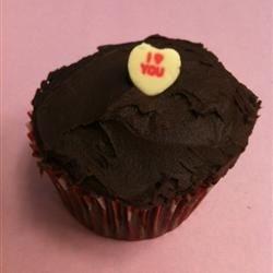 Pro Ganache Frosting on Red Velvet Cupcake