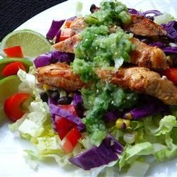 Spicy Southwest Chopped Salad with Salsa Verde Recipe - Spicy grilled chicken breasts are dressed with a tomatillo and cilantro sauce in this tasty main dish salad.