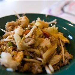 Glo's Sausage Fried Rice Recipe - This is an easy-to-prepare fried rice dished passed down by my Japanese mother. You won't find anything like it in the restaurants. Every time we have a family get-together or a covered dish luncheon at work, I am always requested to bring this rice.