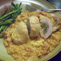 Stuffed Chicken Breasts with Asparagus and Parmesan Rice