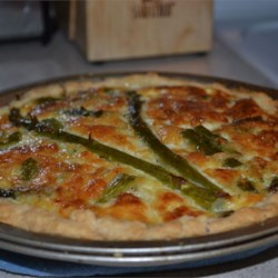 Asparagus Quiche Recipe - Breakfast quiche with fresh asparagus, bacon and Swiss cheese.