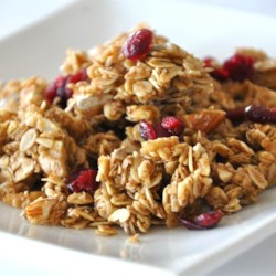 Megan's Granola Recipe - This homemade granola recipe uses oats, nuts, and dried fruit to create a tasty family-friendly breakfast cereal.