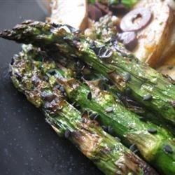 Grilled Soy-Sesame Asparagus Recipe - This asparagus pairs especially well with Asian types of grilled foods, such as kebabs or satays.